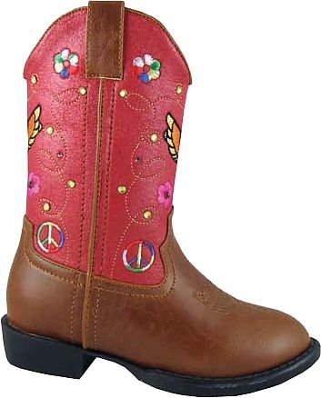 Smoky Mountain 1161 Girl'S Austin Lights Boot Brown/Red Toddler'S 7 M Us