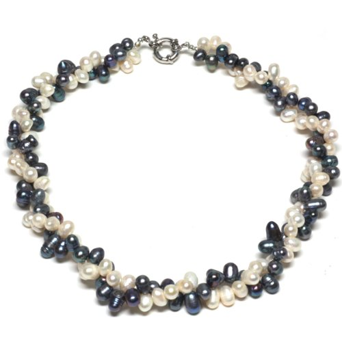 Black White Double Twist Freshwater Pearl Necklace 18