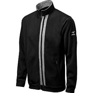 Mizuno Fleece Full Zip Jacket, Black/Grey, XX-Small