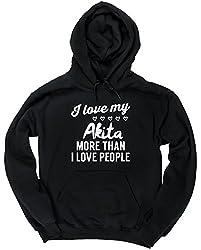 HippoWarehouse I love my akita more than I love people unisex Hoodie hooded top