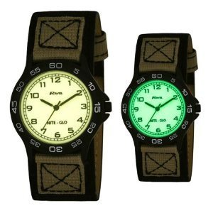 Ravel Nite-Glo Black & Beige Luminous Dial Fabric Strap Boys Watch R1702.2