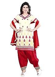 Kimisha Cream Chanderi Embroidered Unstitched Dress Material