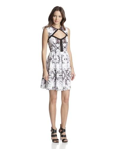 San & Soni Women's Dace Impression Print Cutout Dress  [Multi]