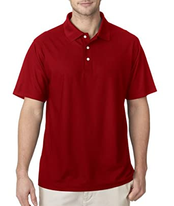 UltraClub Men's Cool & Dry Pebble-Knit Polo - Red - S