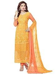 Desi Girl Fashion Store Women's Chiffon Unstitched Dress Material (DGFS01_Yellow_Freesize)
