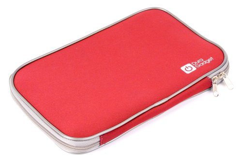 Duragadget Bright Red Water Resistant Neoprene Carry Case With Double Zipper For Panasonic Toughpad Fz-G1, Panasonic Toughpad Fs A1 Fz-A1Bdaazce 10.1-Inch Tablet (Marvell Dual Core 1.2Ghz Processor, 1Gb Ram, Android 4.0) And Mpman Mp1000 Internet Tab Pc
