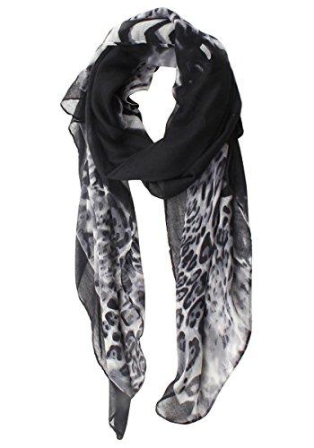 Tinotrade Fashion Leopard Shawl Scarf Lightweight Animal Print Wrap (White)