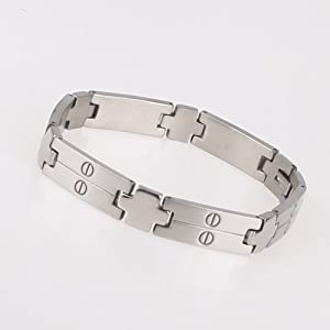 Mens Silver Heavy Curb Chain Bracelet Surgical Stainless Steel With Gift Box Jb1011 by FashionOn