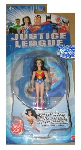 Justice League Wonder Woman Figure - 1st Release NM+ Card - Blue Label by Mattel - 1