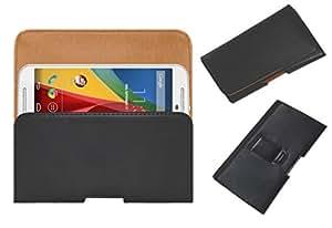 Acm Belt Holster Leather Case For Motorola Moto G 2Nd Gen 2014 Mobile Cover Holder Clip Magnetic Closure Black