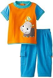 NUBY Baby-Boys Newborn 2 Piece Pant Set Rhino, Orange, 6-9 Months