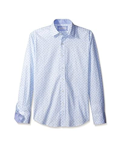 Alex Cannon Men's Long Sleeve Spread Collar Print Shirt