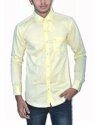 Neptune Solid Men's Casual Shirt Lemon