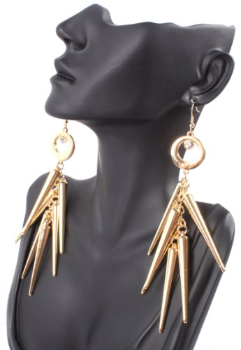 Gold Lady Gaga Poparazzi Circle Earrings with Spikes Light Weight Basketball Wives