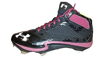 Under Armour Team Heater V Mid ST Mens Baseball Cleats (Black Red Garnet) by Under Armour