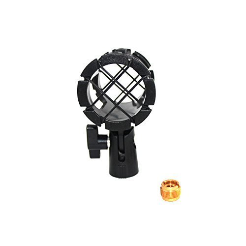 ZRAMO Microphone Clip Mount Small Size Mics Holder Shock Mount with Adapter and 8pc O-ring for AKG D230, Senheisser ME66, Rode NTG-2,NTG-1,Audio-Technica AT-875R