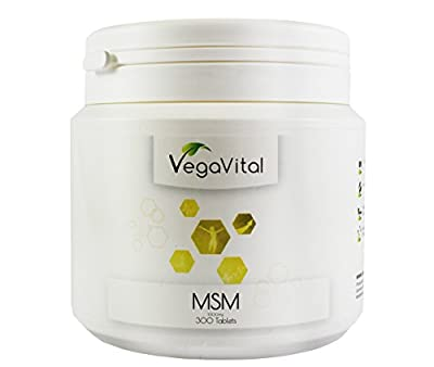MSM Tablets 1,000mg, 300 Tablets, 99.9% of pure and highly dosed Methylsulfonylmethan, organic sulfur, VEGAN - including a certificate of analysis