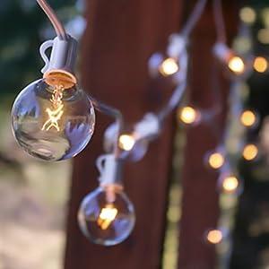 Globe String Lights, 2 Inch E12 Bulbs, 50 Foot White Wire C7 Strand, Clear - - Amazon.com