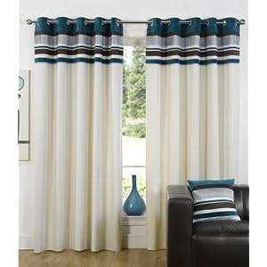 Best Seller Teal Blue Eyelet Curtains Kendal 90x72 In UK