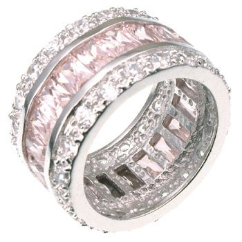 Sterling Silver Baguette-cut Pink CZ Eternity Ring