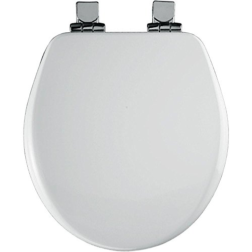 Round Closed Front High Density Molded Wood Toilet Seat with Cover, White (Toilet Seat Cover Chrome compare prices)