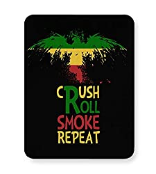PosterGuy Mouse Pad - Crush Roll Repeat Weed, Ghanja, Bob Marley, Bong, Joint, Leaf, Marijuana, Brazil, Green, Black