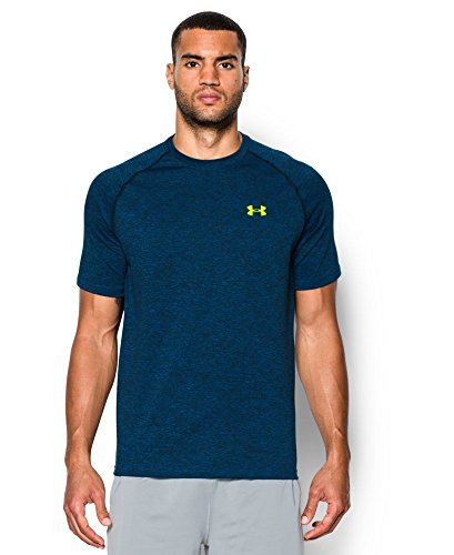 Under Armour Men's Short Sleeve Tech Tee, Large, Blue Jet/Black/High-Vis Yellow