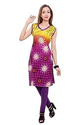 Kurti Studio Festive Yellow Purple Unstitched Cotton Kurti Dress Material