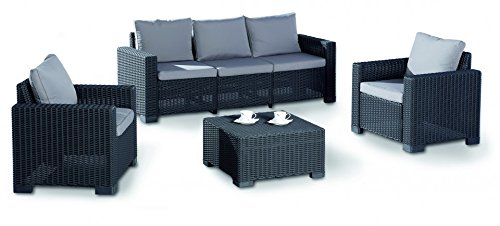 BEST 96114050 4-teilig Loungegruppe Mombasa, graphit / hellgrau