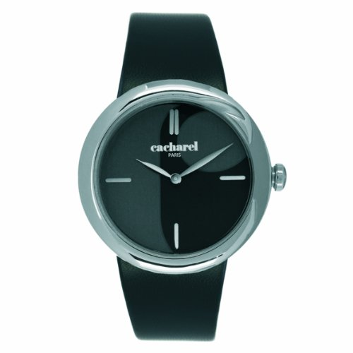 Cacharel CLD AA - 003/Women's Quartz Analogue Watch-Black Face-Black Leather Strap
