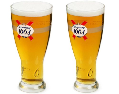 OFFICIAL BRANDED KRONENBOURG 1664 PINT GLASS (2) (Beer Glasses 1664 compare prices)