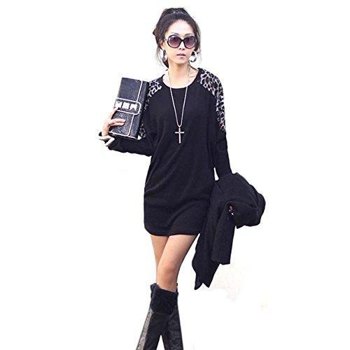 Aokdis Women Ladies Leopard Print Long Sleeve Loose T Shirt Tops Blouse