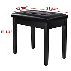 SONGMICS Padded Wooden Piano Bench Stool with Music Storage