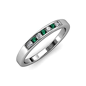 Emerald and Diamond (SI2-I1, G-H) 7 Stone Wedding Band 0.37 ct tw in 14K White Gold.size 9