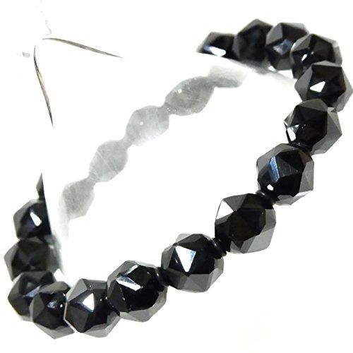 *ミャンマー産 5A級天然石 ブラックスピネル(別名ブラックダイヤモンド)スターカット10mmUP珠パワーストーン.ブレスレット(女性LL.男性L.size)