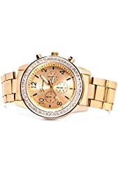 Chronograph Look with Crystals..Tone Metal Link