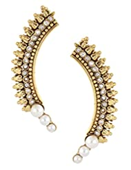The Jewelbox Gold Plated American Diamond Pearls Antique Ear Cuff Earring Pair