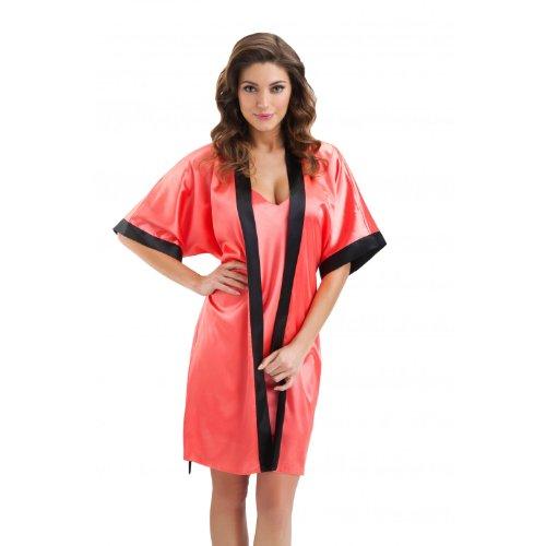 Damen Morgenmantel Satin Kimono Bademantel Schwarz, Weiß, Gold, Pink, Rot, Dunkelblau, Koralle / Made in EU, Farbe: Koralle, Größe: XL
