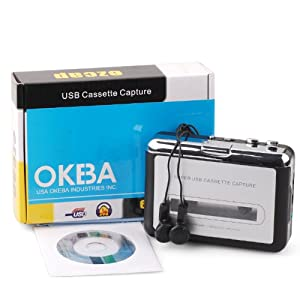 OKEBA New Handheld Super Tape to PC USB Portable Cassette-to-MP3 Converter Capture Player Adapter with USB Cable Headphones and Software Cd -- MAC Compatible
