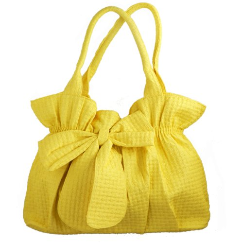 Womens Large Hobo Shoulder Bag Tote Handbag with Bow Mustard