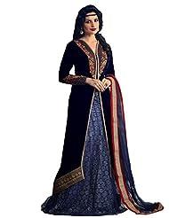 Shonaya Blue Colour Embroidery Resham & Zari Work Velvet Semi Stitch Salwar Suit
