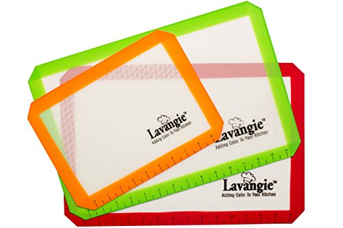 Silicone Baking Mat Set - Professional Heat-Resistant Non Stick Mats & Liners for Cookie Sheets by Lavangie™ (3 color pack) (Silicone Baking Mat compare prices)