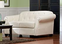 Big Sale Kristyna Bonded Leather Loveseat with Button Tufting by Coaster