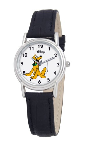 Disney Women's D074S005 Pluto Black Leather Strap Watch