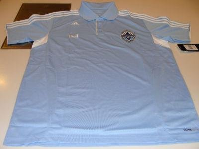 MLS Soccer Vancouver Whitecaps 2011 Clima Cool Light Blue 3 Button Polo Shirt XL - Men's NHL Polos