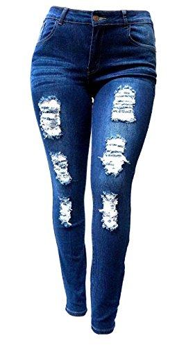 SL 1826 WOMENS PLUS SIZE Stretch Distressed Ripped BLUE SKINNY DENIM JEANS PANTS (18)