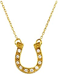 Exxotic Designer Horse Shoe Lucky Charm Silver Gold Plated Pendant Necklace For Girls & Women