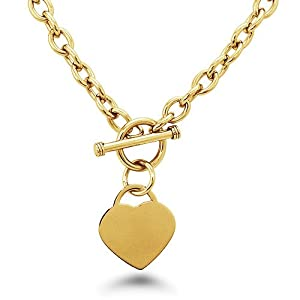 Gold Plated Stainless Steel Heart Tag Toggle Necklace 18 Inches