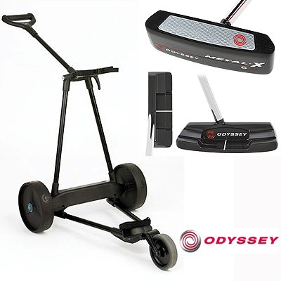 New! Emotion E3 23Lbs Pull Push Electric Motorized 3-Wheel Golf Cart Trolley + New! Odyssey Metal-X #1 Putter