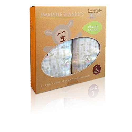Bamboo Receiving Baby Blankets Gift Set | Organic Muslin Swaddle | Lambie & Me, Lavendar Lamb 2 Count - 1